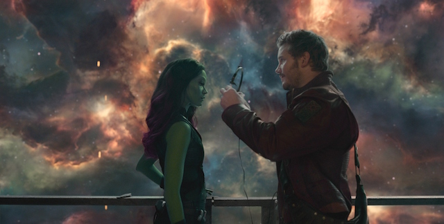 Marvel's Guardians Of The Galaxy L to R: Gamora (Zoe Saldana) and Star-Lord/Peter Quill (Chris Pratt) Ph: Film Frame ©Marvel 2014