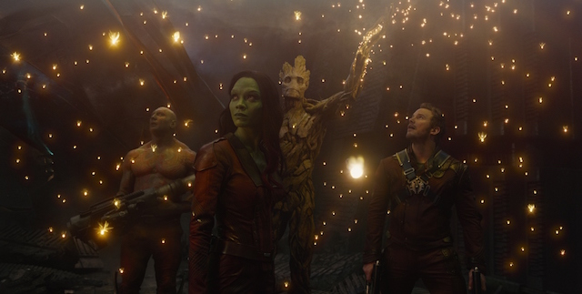 Marvel's Guardians Of The Galaxy L to R: Drax the Destroyer (Dave Bautista), Gamora (Zoe Saldana), Groot (voiced by Vin Diesel) and Peter Quill/Star-Lord (Chris Pratt) Ph: Film Frame ©Marvel 2014