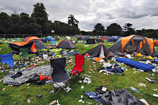 The mess left behind at Weston Park after the V Festival