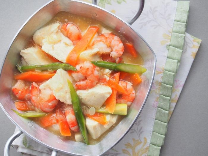 腐とえびのうま塩煮