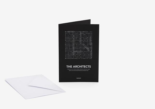 ザハ・ハディッド、ジャン・ヌーヴェル、レンゾ・ピアノなど建築界の巨匠の賛同を集めた建築おもちゃ「Play with Architecture!」は子どもの知育にぴったりなクロスワードのポストカード
