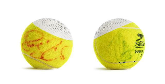 グランドスラムで使われているテニスボールの平均寿命は、なんと35分。そして一年間のボールの消費量23万個にも及びます。そうして消費されてしまった最高品質のボールに新しく命を吹き込むと、なんとワイヤレススピーカーになるんです。7