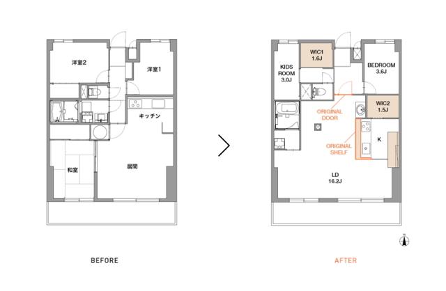 スケルトンによって自分の思い通りの広いリビング&キッチン空間を実現した杉並区のリノベーション事例「DRAFT」。無駄な動線と空間を省き、広さと自由度を重視したラフなコンセプトが生きたデザインです。3
