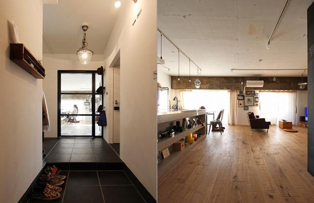 スケルトンによって自分の思い通りの広いリビング&キッチン空間を実現した杉並区のリノベーション事例「DRAFT」。無駄な動線と空間を省き、広さと自由度を重視したラフなコンセプトが生きたデザインです。7