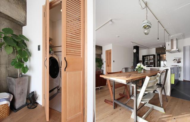 スケルトンによって自分の思い通りの広いリビング&キッチン空間を実現した杉並区のリノベーション事例「DRAFT」。無駄な動線と空間を省き、広さと自由度を重視したラフなコンセプトが生きたデザインです。4