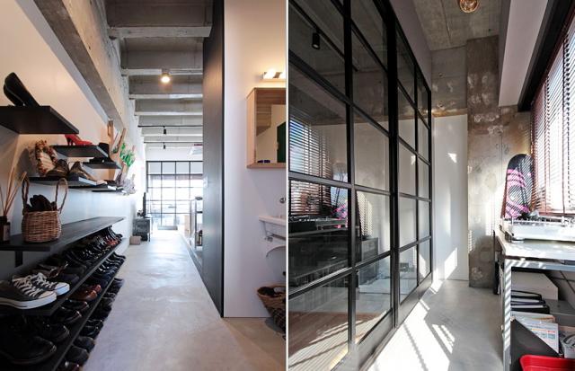 天井高と広さにこだわった中古マンションのリノベーション事例。「rough nude」をコンセプトにコンクリート現しや長い土間、インナーテラスなどで独特の空間を実現した、職場から近い夫婦二人住まいのゲストハウス的デザイン。4