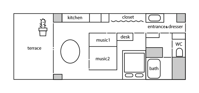 東京都港区麻布十番の中古レトロマンションをリノベーションをし、趣味の音楽が楽しめる防音室を完備して趣味に生きる土居さん夫妻_5