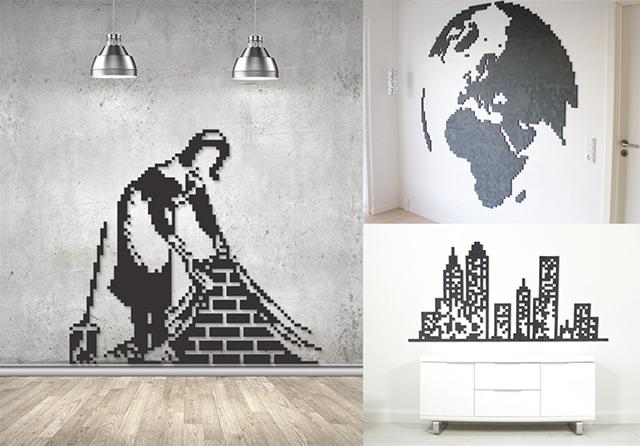 「Wallz Copenhargen」は、タイルを並べて自由に壁アートがDIYできる商品。並べ方次第で、いろいろなデザインが可能です。