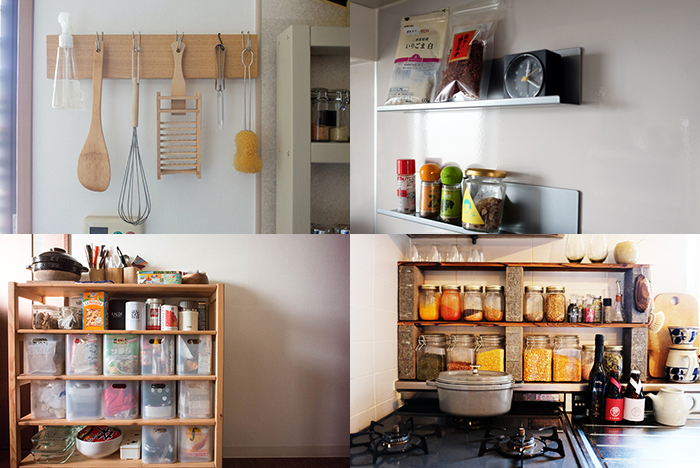 料理をもっと楽しみたいと思うと、調味料やキッチンツールの数はどうしても多くなってしまいます。隠しきれなくなってしまったら「見せる収納」にシフトチェンジするのはどうでしょう。ルーミーが過去に取材したお宅で見つけたワザありな収納テクニックやDIYをご紹介します。