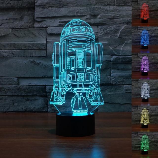 アクリルガラスやプラスチックなどで作られた、スター・ウォーズキャラクターをデザインしたベッドサイドランプ商品の紹介。アクリルガラス仕様で、シンプルな作りながら、部屋の中にあるだけでパッと目を引きます。6