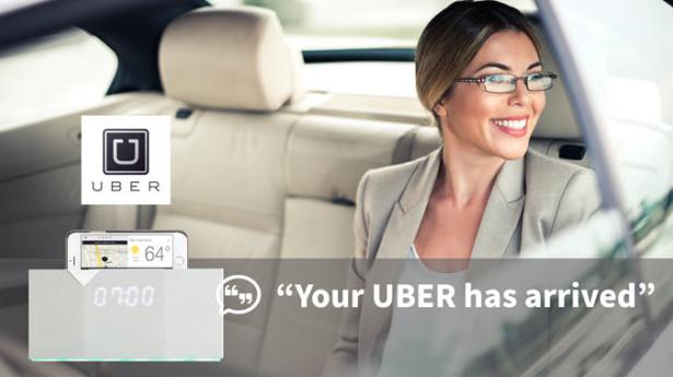 20以上の機能を備えた目覚まし時計「BEDD」は、いつも散らかりがちなサイドテーブルに置かれたリモコンやスマホなど、いろいろなモノの代用品となります。Uberと連携してタクシーを呼んでくれたり、スピーカーになったり。さまざまな機能で、サイドテーブルをすっきり片付けます。スマホを差し込めばUberとの連携もできます。